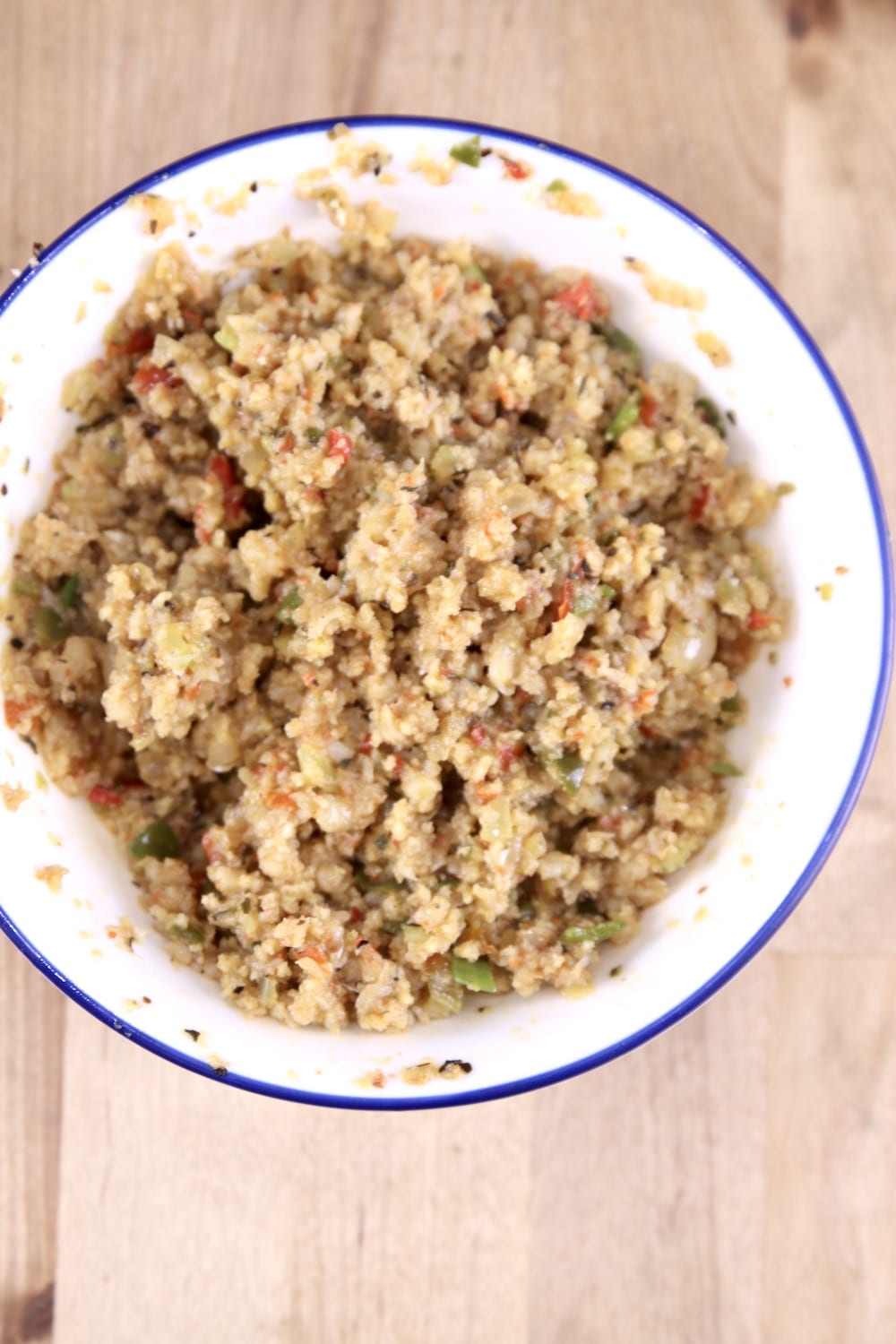 bowl of crawfish stuffing for butterfly shrimp