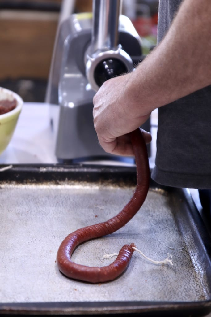 making smoked sausage snack sticks with a sausage stuffer