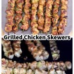 Chicken Skewers collage - served on a platter and on the grill