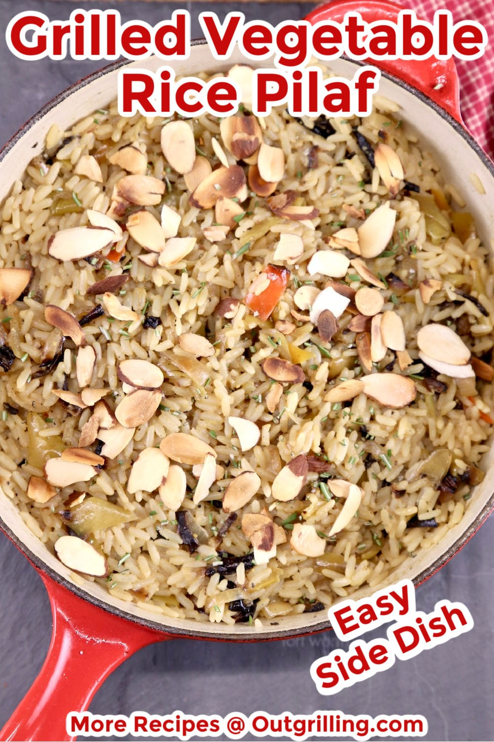 Pan of rice pilaf with toasted almonds - text overlay