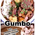 Gumbo Collage bowl with rice and pot of gumbo