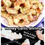collage of honey garlic shrimp appetizer in a bowl and on the grill