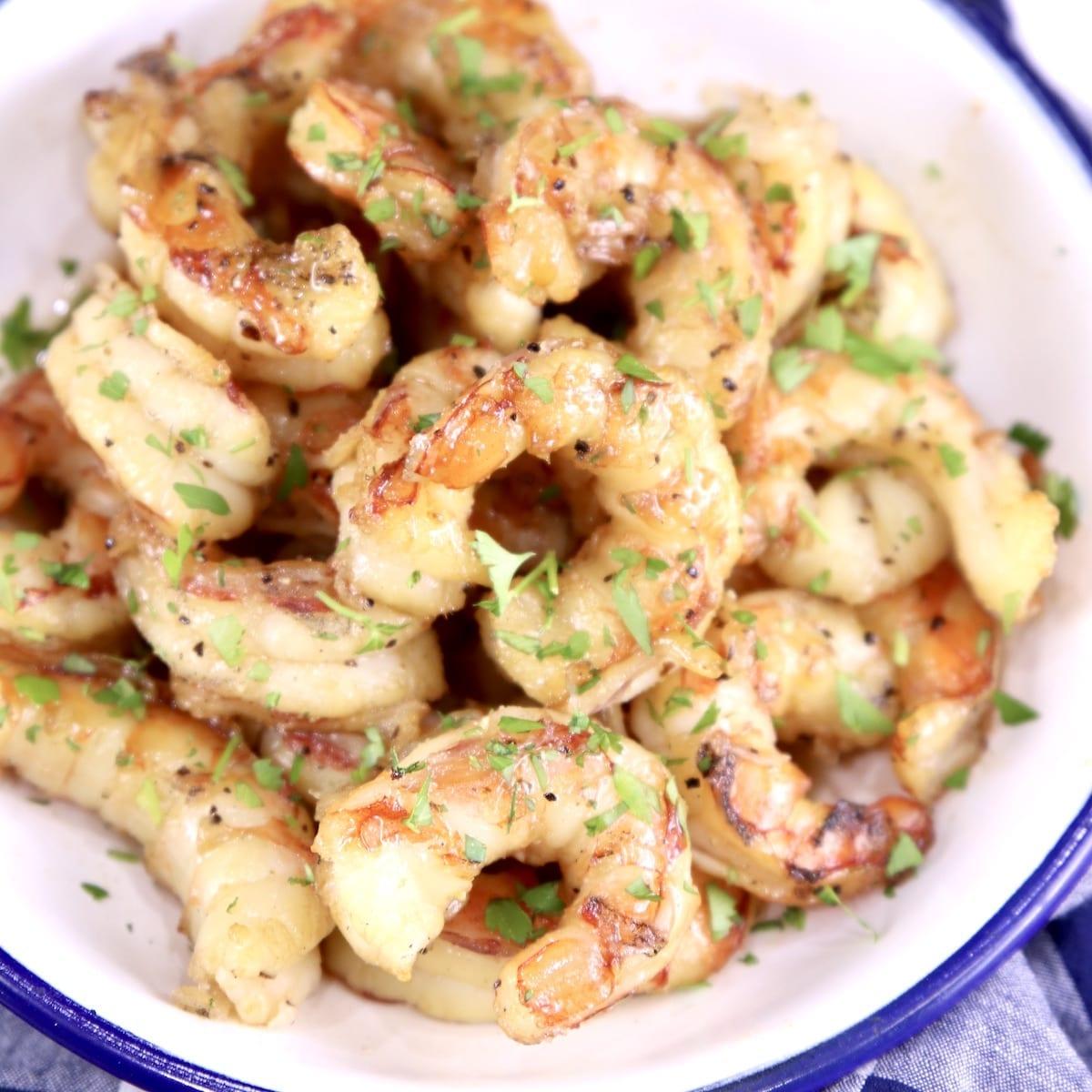 Bowl of honey garlic grilled shrimp - close up view