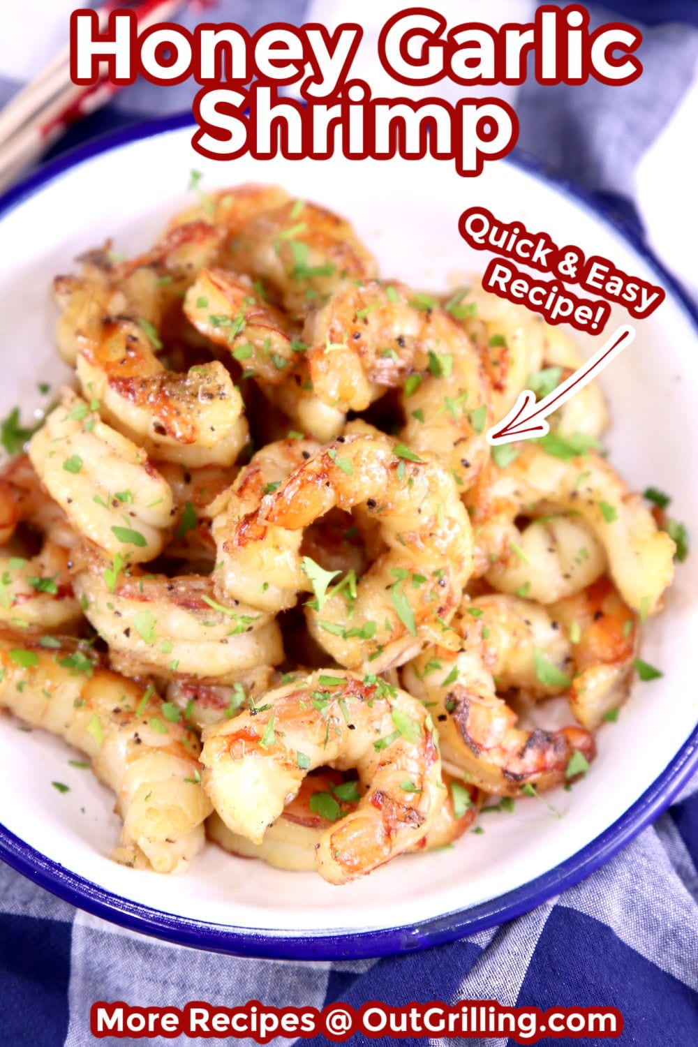 Honey Garlic Shrimp in a bowl, overhead view with text overlay for pinterest