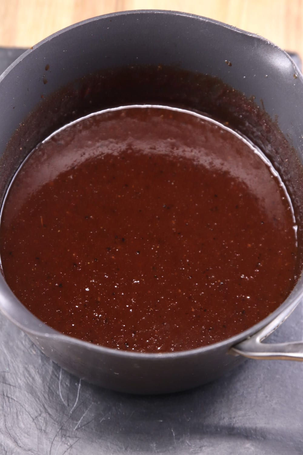 pan of maple bbq sauce