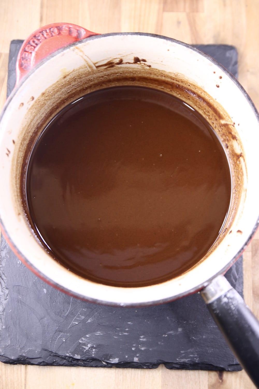 Dark Roux for gumbo in a saucepan
