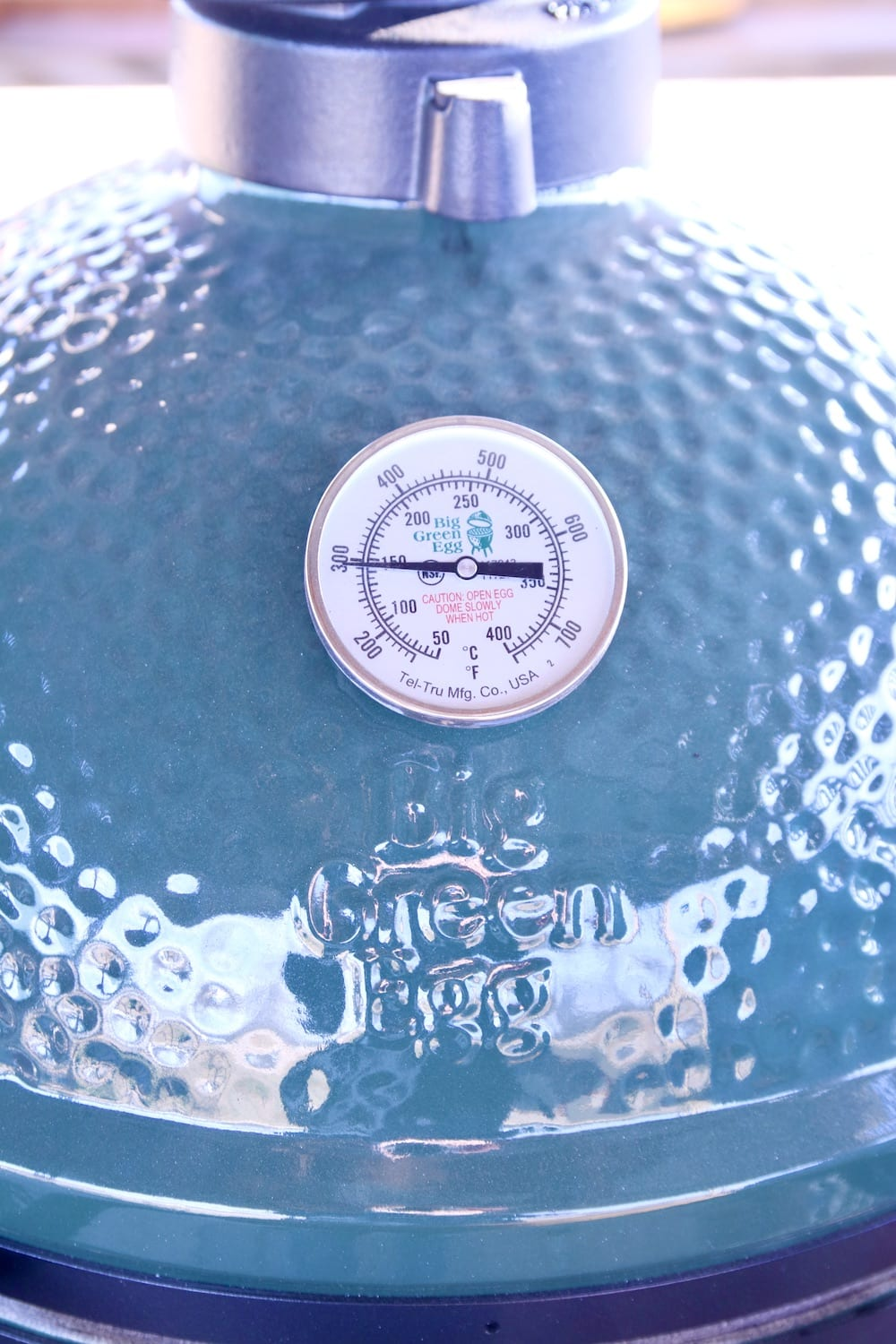 Big Green Egg Grill with 300° temperature