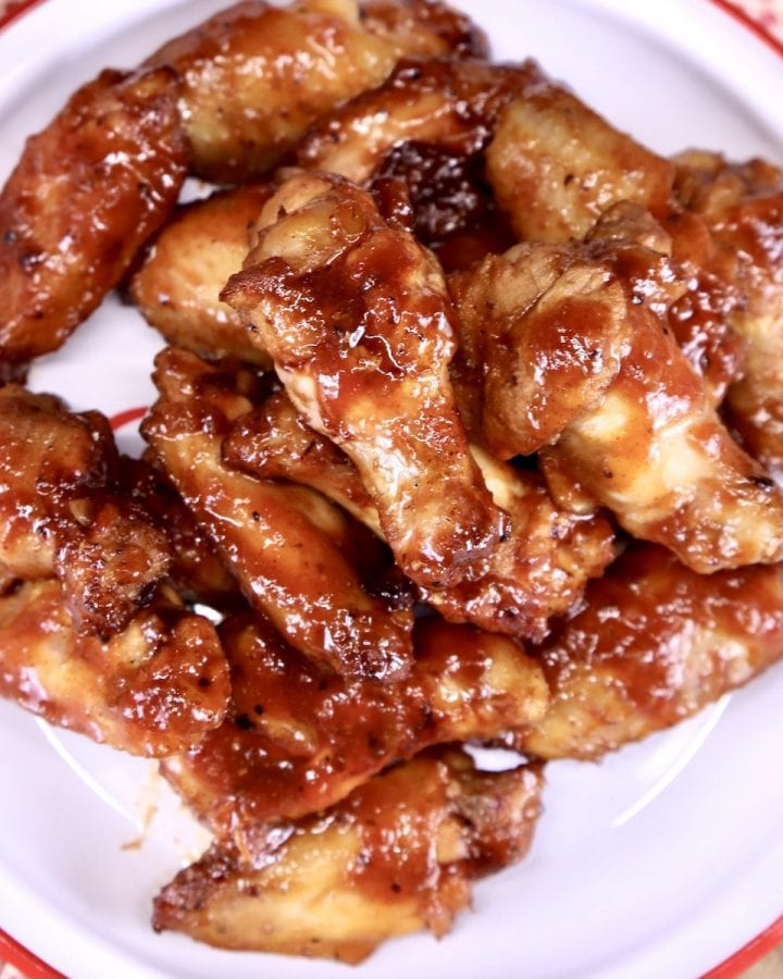 Maple BBQ Chicken Wings on a plate - overhead view