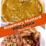 Collage of rosemary mustard bbq sauce with jar of sauce and coated on chicken wings - text banner overlay