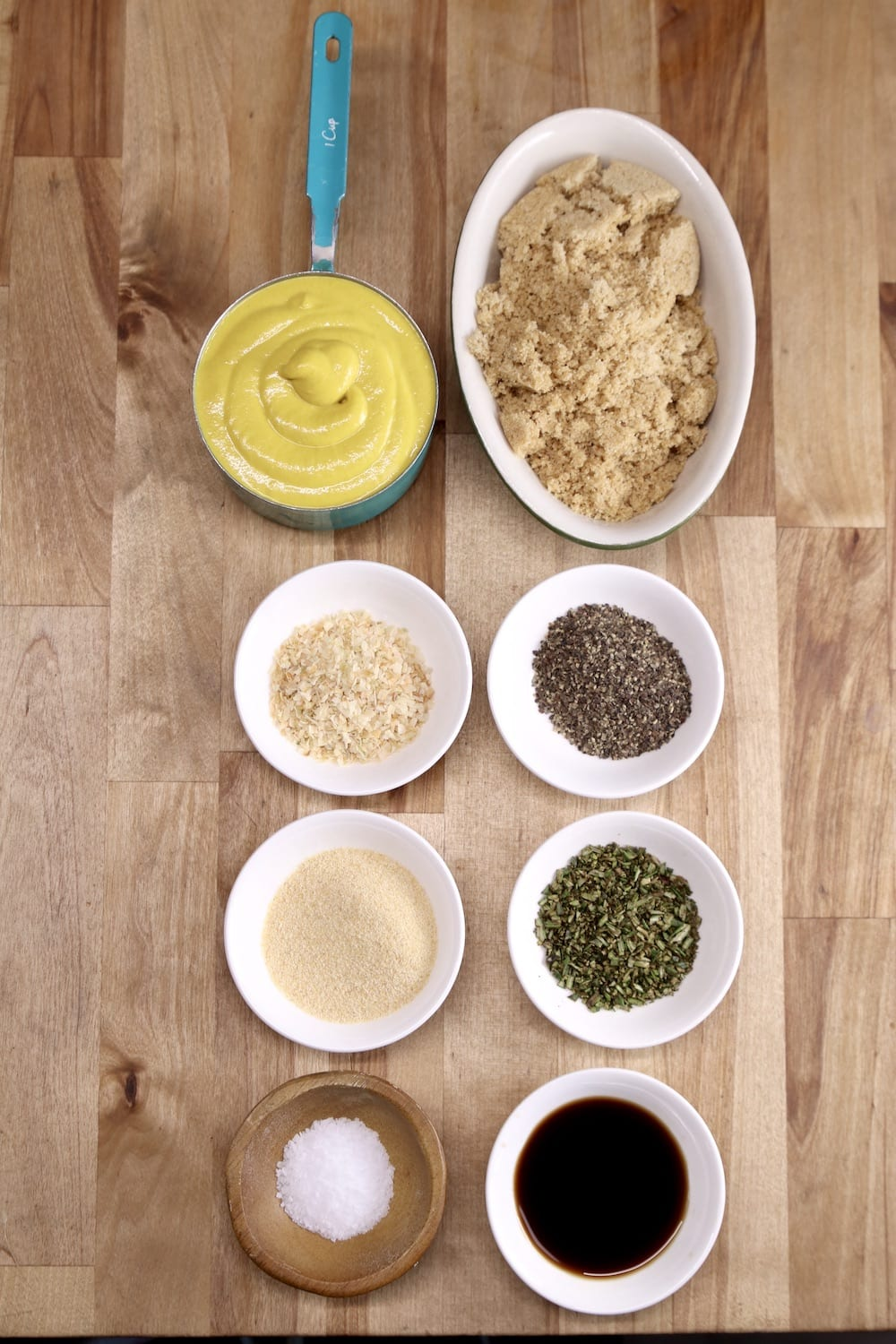 Mustard, brown sugar and spices for bbq sauce