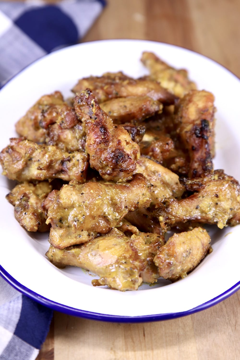 Rosemary Mustard Chicken Wings on a white platter