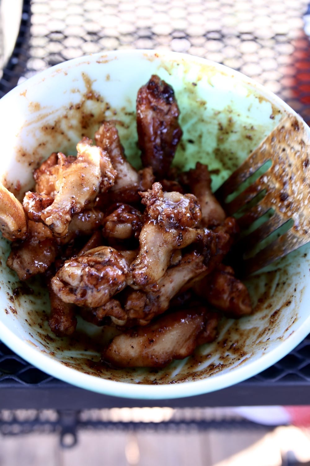 Chicken wings with maple sauce in a bowl