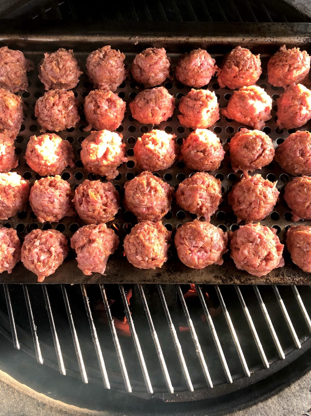 meatballs on a grill