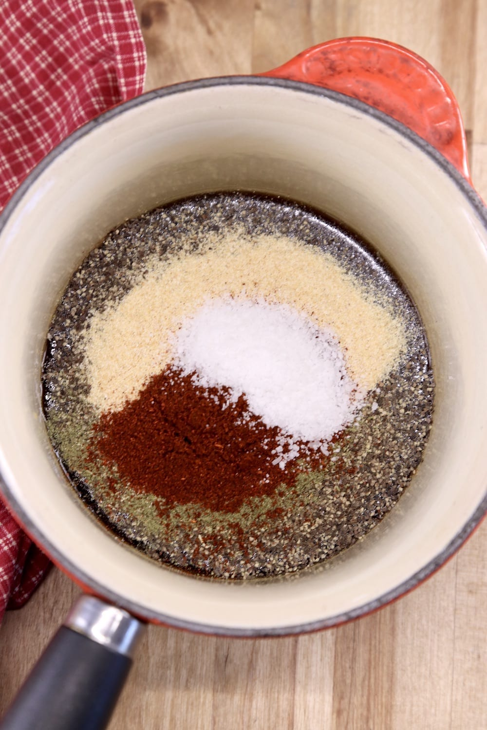 Maple Glaze with spices in a saucepan