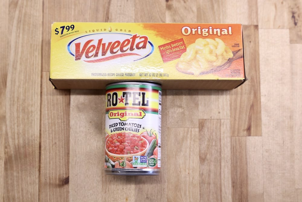 velveeta cheese box with can of RoTel Tomatoes