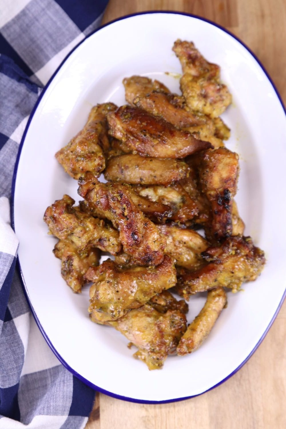 Rosemary Mustard Chicken Wings on an oval platter
