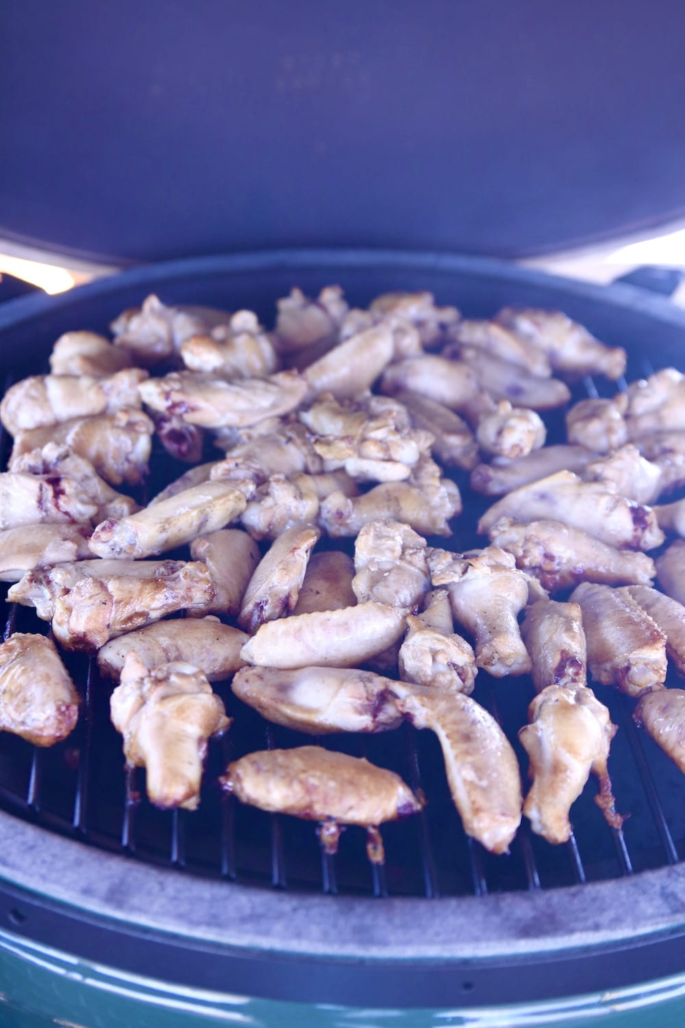Smoked chicken wings on a grill