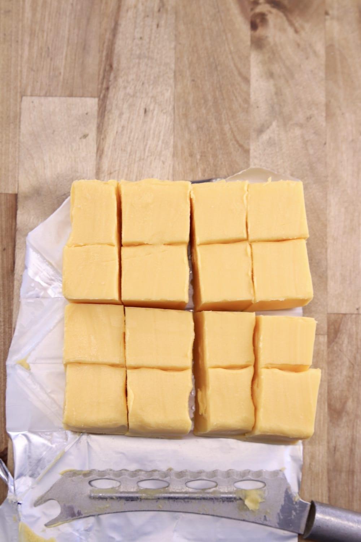 Velveeta cut into 16 squares