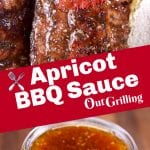 Apricot BBQ Sauce collage - brushed on ribs and in a jar