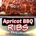 Apricot BBQ Ribs collage sliced and on the grill, text overlay