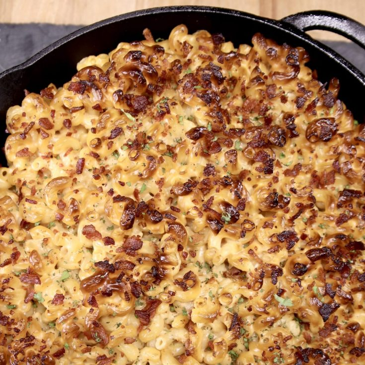 Smoked Mac and cheese in a cast iron skillet