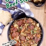 Guinness Beef Stew in a cast iron skillet