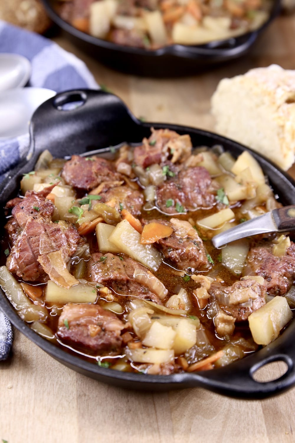 Mini cast iron skillet with beef stew