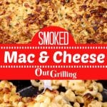 Smoked mac and cheese collage - pan and serving on a spoon
