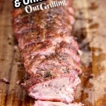 Sweet Garlic & Onion Ribs sliced on a cutting board with text overlay