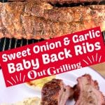 collage of grilling ribs and plated with potato salad