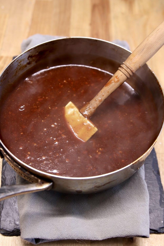 Jalapeno bbq sauce in a saucepan