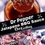 Dr Pepper Jalapeno BBQ Sauce collage - jar of sauce over grilled ribs