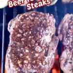Steaks on a grill with text overlay