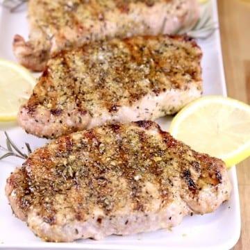Grilled Lemon Rosemary Pork Chops