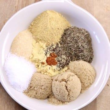Lemon Rosemary Dry Rub - each seasoning measured out in a bowl