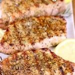 lemon rosemary pork chops- grilled on a platter