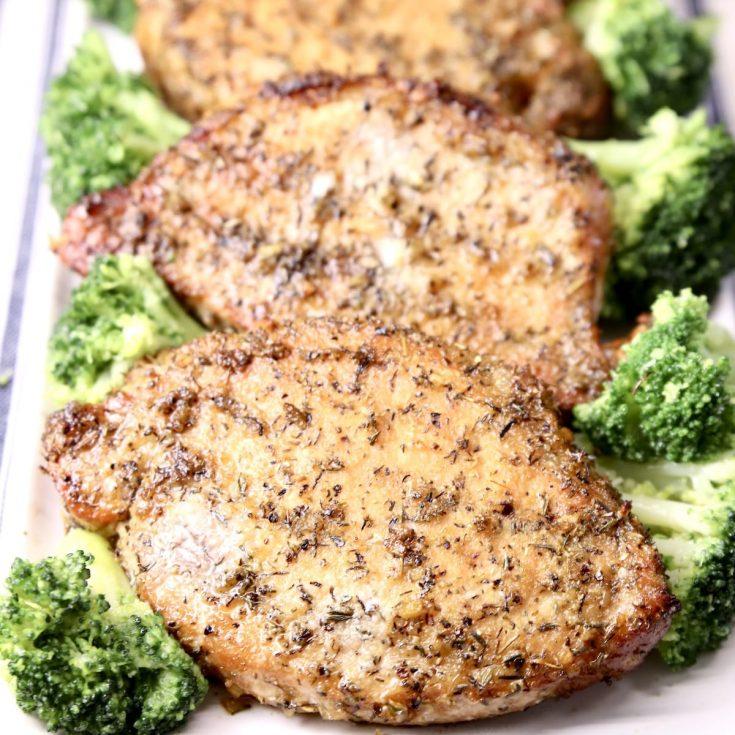 Onion Thyme Pork Chops with broccoli