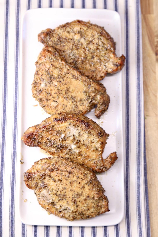 platter of 4 grilled pork chops