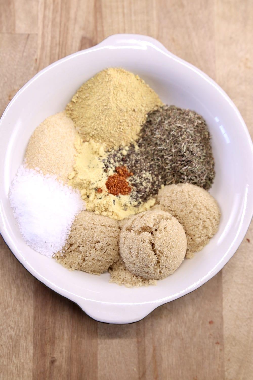 Bowl of spices for lemon rosemary dry rub