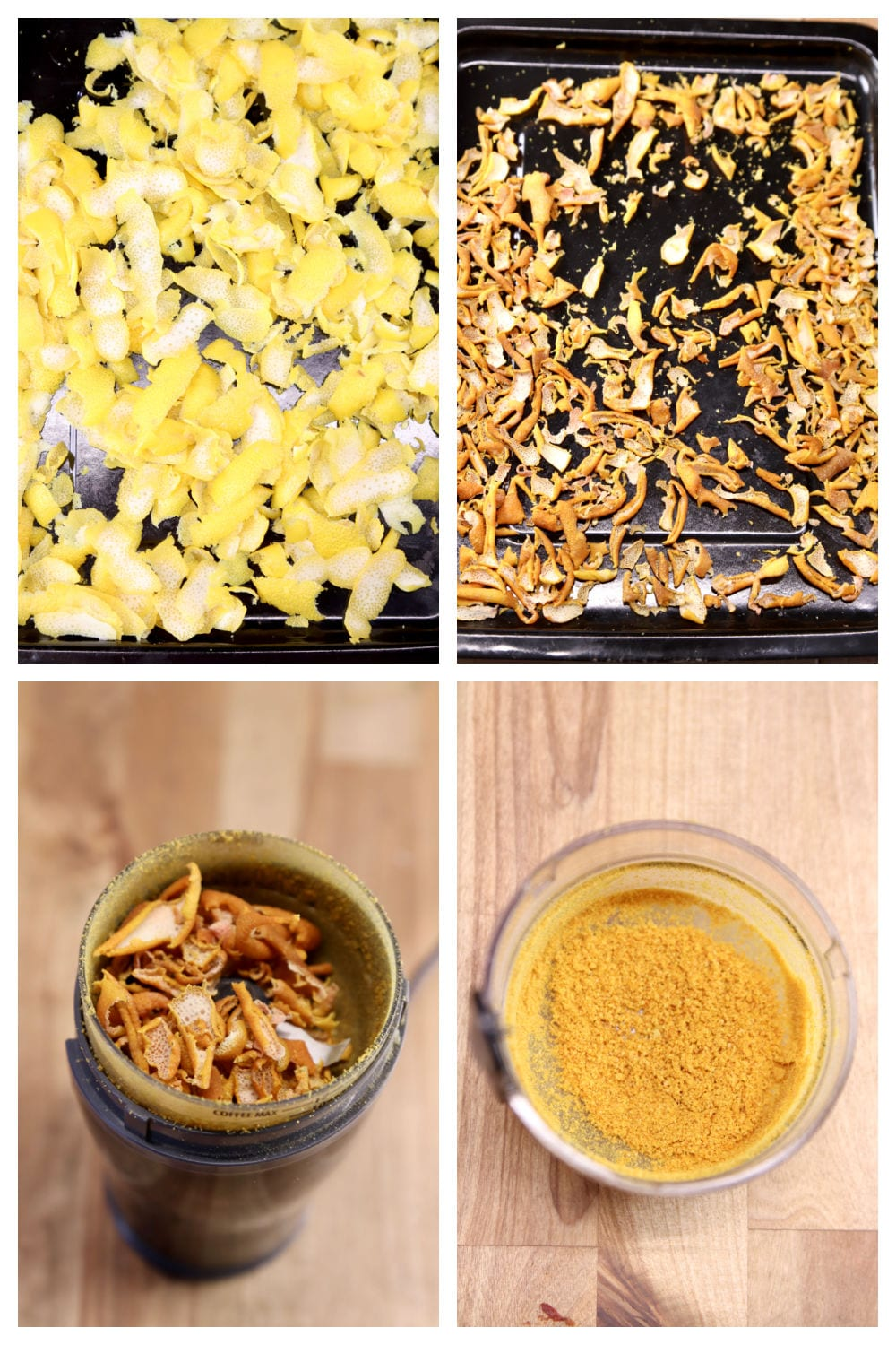 collage of drying lemon peel and grinding to a powder