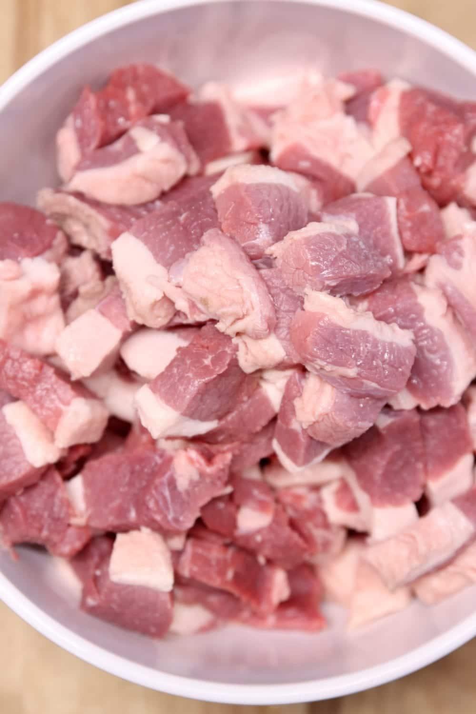 beef brisket cut into chunks
