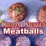 cheddar stuffed meatballs collage - plated/on grill
