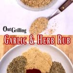 collage of garlic and herb spice mix: in a jar/ spices in a bowl before mixing