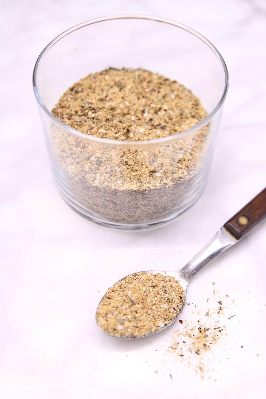 jar and spoon of garlic rub