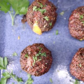 cheddar stuffed meatballs