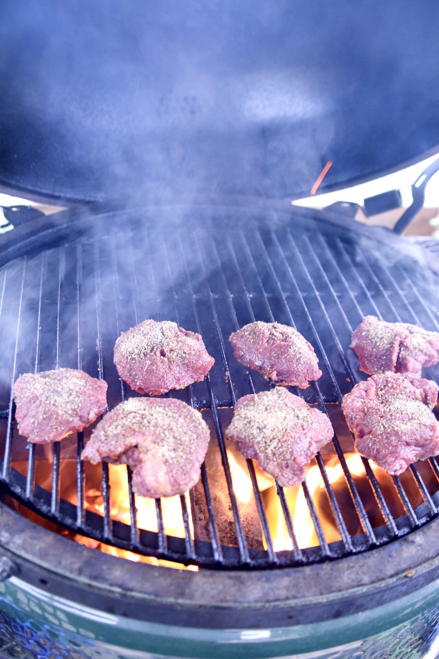 tenderloin steaks on a grill