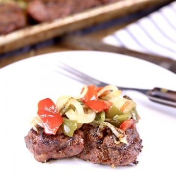 Grilled Filet Mignon with peppers and onions
