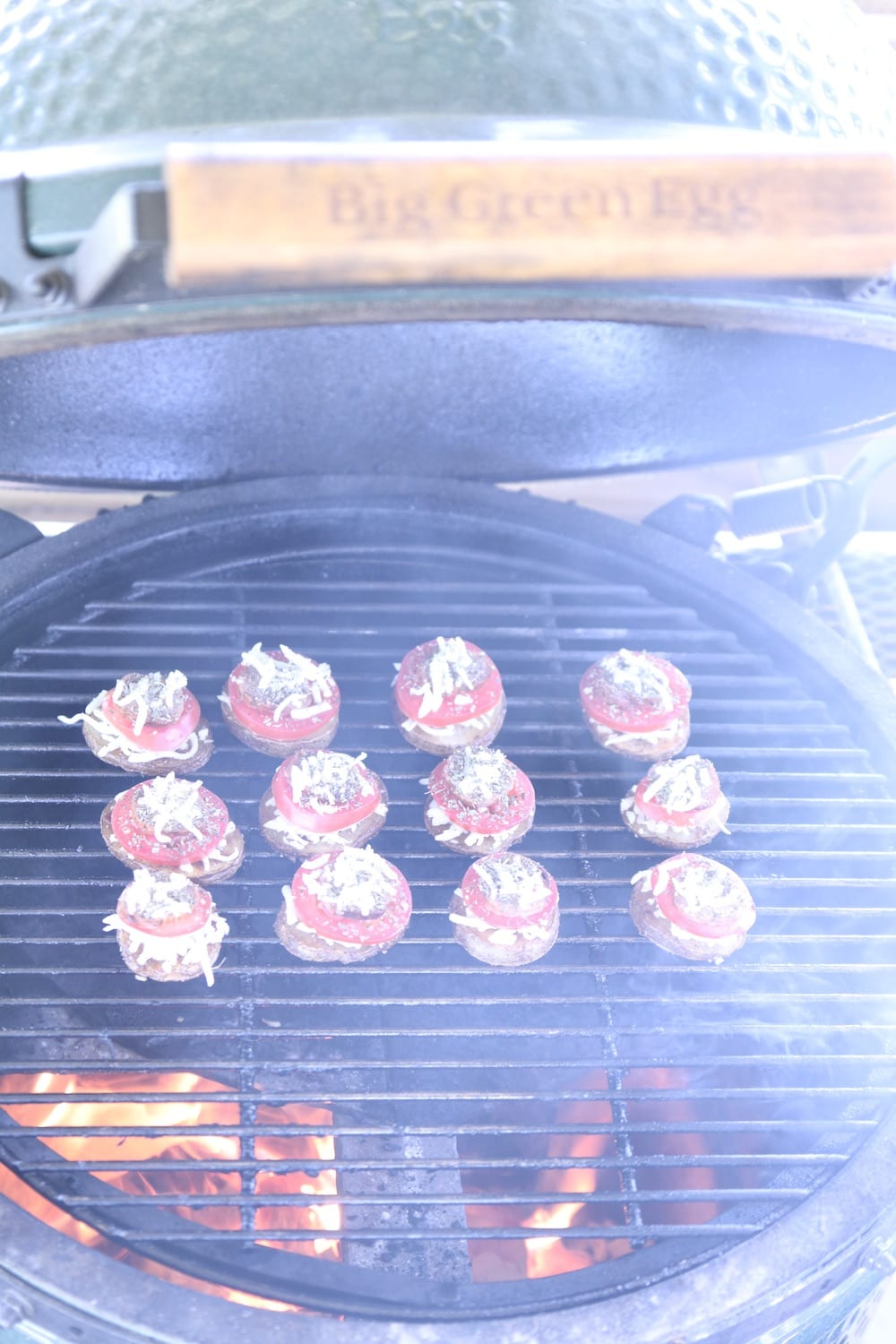 potato rounds on a big green egg grill
