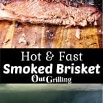 hot and fast smoked brisket collage - cut in half/on thegrill