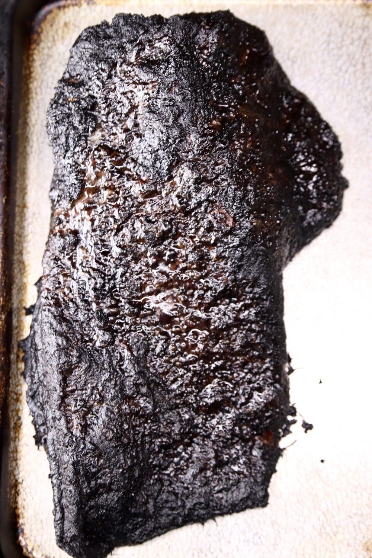 Smoked brisket on a sheet pan - whole